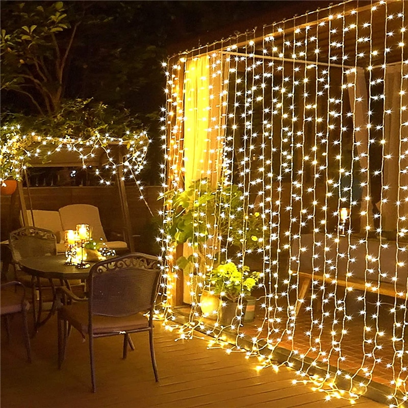 12M LED Curtain Garland String Lights Wedding Christmas Light  Decoration Curtains Holiday Fairy Lighting For Home Room Bedroom 3m globe led garland starry crystal wishing ball string lights decors for curtains bedroom living room balcony christmas wedding
