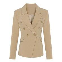 HIGH QUALITY Classic Designer Blazer Womens Double Breasted Metal Lion Buttons Blazer Jacket Outer Wear Khaki Plus size S-XXXL