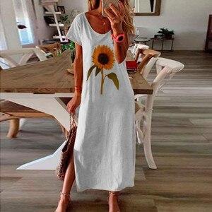 Women's Bohemian Sundress Summer Dress 2020 Short Sleeve Sunflower Print Maxi Long Dress Casual Loose Beach Dress Vestidos#J30