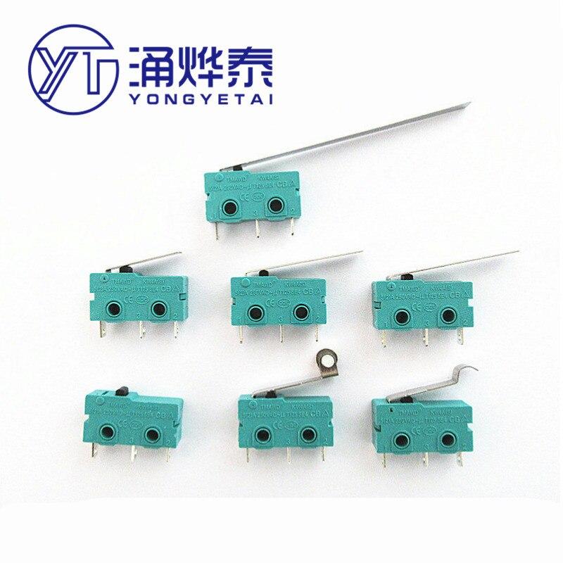 YYT 10 шт покрытые серебром 5A250V микро роллер предел KW12-A-B-C-D-N 3pin с/без ручки KW11 концевого выключателя зеленый нормально открытый закрытый