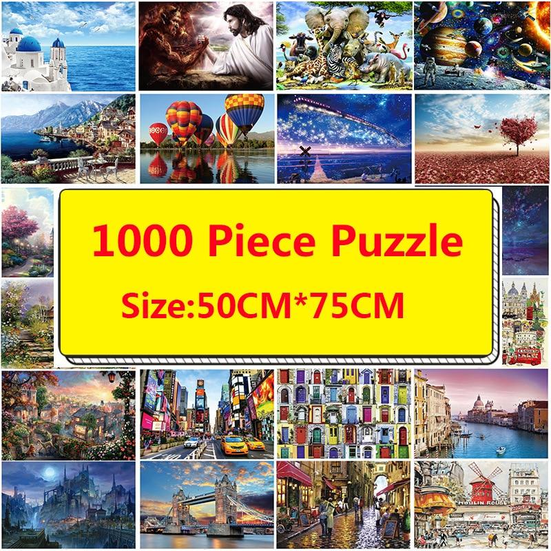 Quebra-cabeças 1000 peças para adultos, quebra-cabeça montessori, brinquedos educativos adultos 75*50cm, quebra-cabeça 3d, brinquedos antiestresse