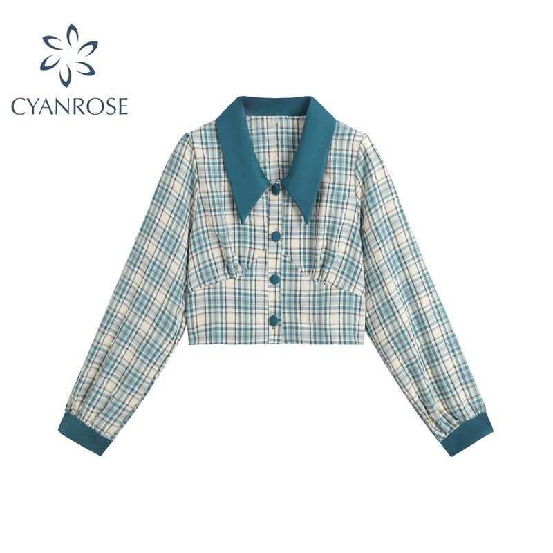 2020 Autumn blouse women vintage crop plaid shirt elegant Casual Lapel button up Womens Blouse Long Sleeve Party Shirts Tops