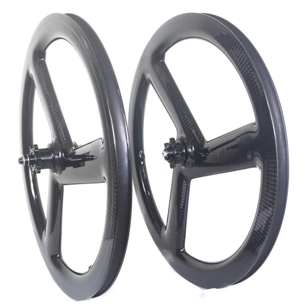 3 spoke 451 carbon wheels tri spoke 20 inch folding bike carbon wheelset clincher wheels disc brake v brake