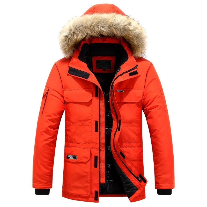 Мужское зимнее пальто, Модная парка с капюшоном, теплое зимнее пальто, мужское плотное повседневное хлопковое пальто с отворотом, зимнее па...