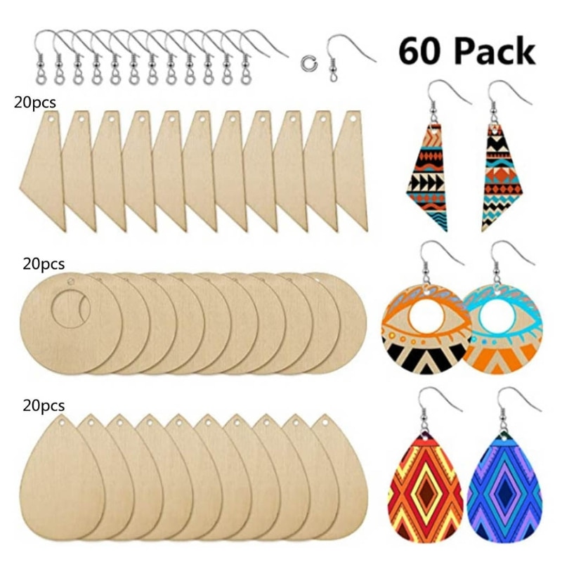 60 Pieces Unfinished Wooden Earrings Pendants Blank Jewelry Making DIY Crafts