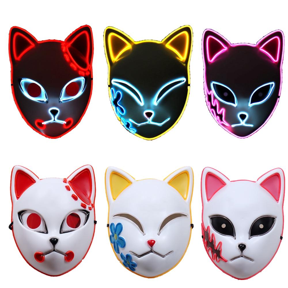 Demon Slayer Tanjirou Mask Kimetsu No Yaiba Sabito Mascarilla Anime Masks Makomo Cosplay  Masques Halloween Costume Mascaras LED