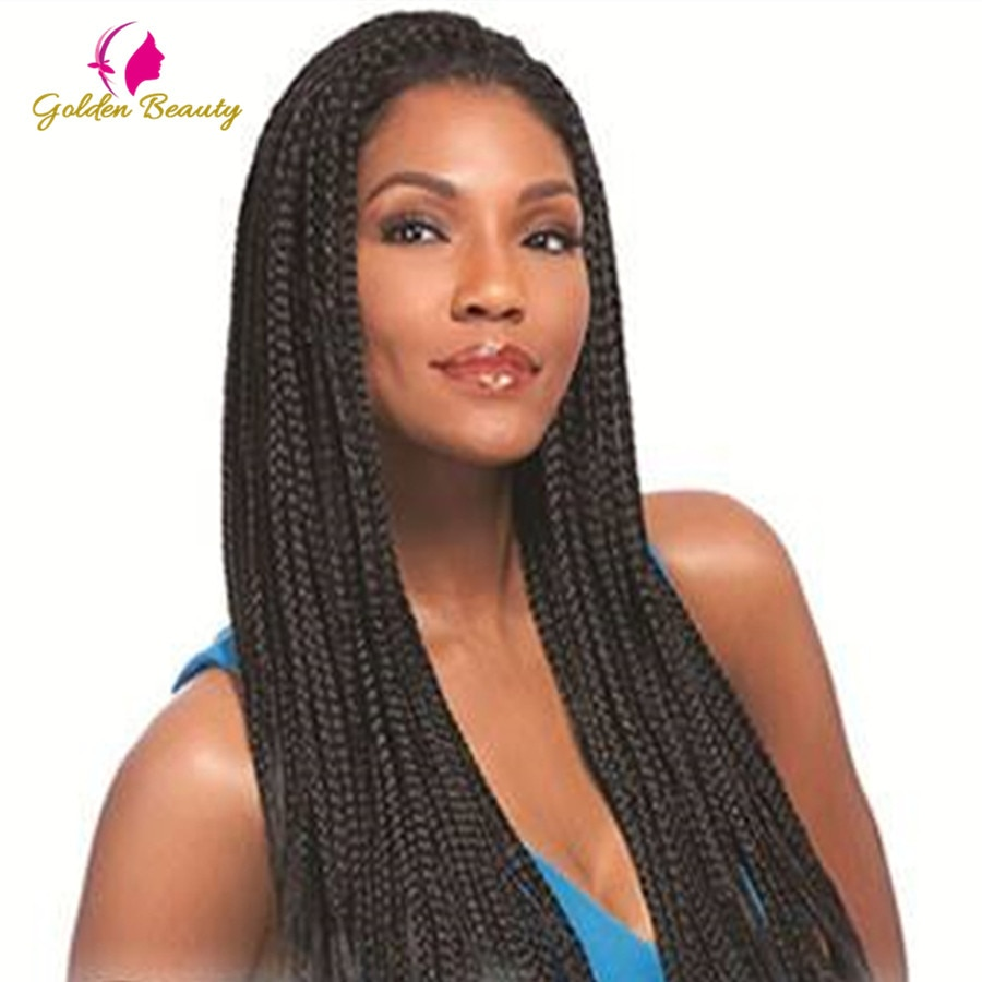 """18-22 """"uzun örgüler afrika peruk ön dantel kutusu örgü peruk siyah kadınlar için sentetik örgü saç isıya dayanıklı altın güzellik"""