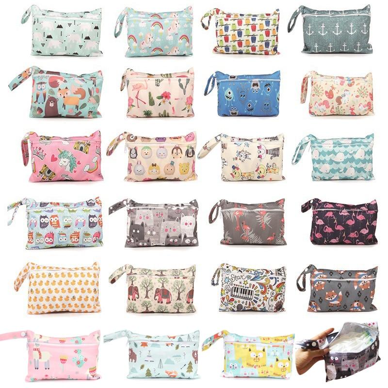 Reusable Mini Wet Bag For Nursing Menstrual Pads Waterptoof PUL Snap Handle Wetbag Maternity Diaper Bag Stroller Bags 15*22.5cm