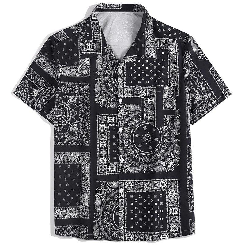 Новое поступление мужские рубашки Гавайская Мода Повседневная пляжная одежда с принтом с короткими рукавами Повседневная мужская рубашка ...