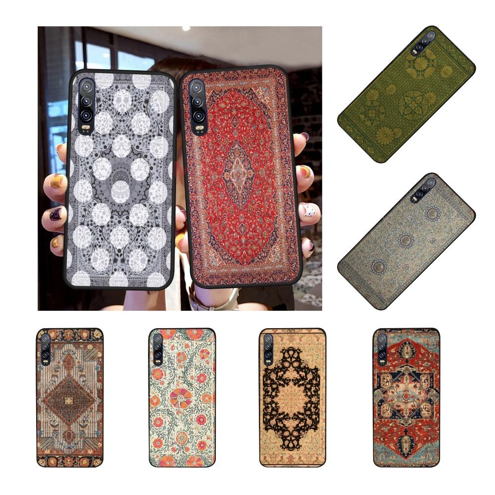 NBDRUICAI alfombra persa patrón Floral suave silicona negro Funda de teléfono para Huawei Honor 20 10 9 8 8x 8c 9x 7c 7a Lite view