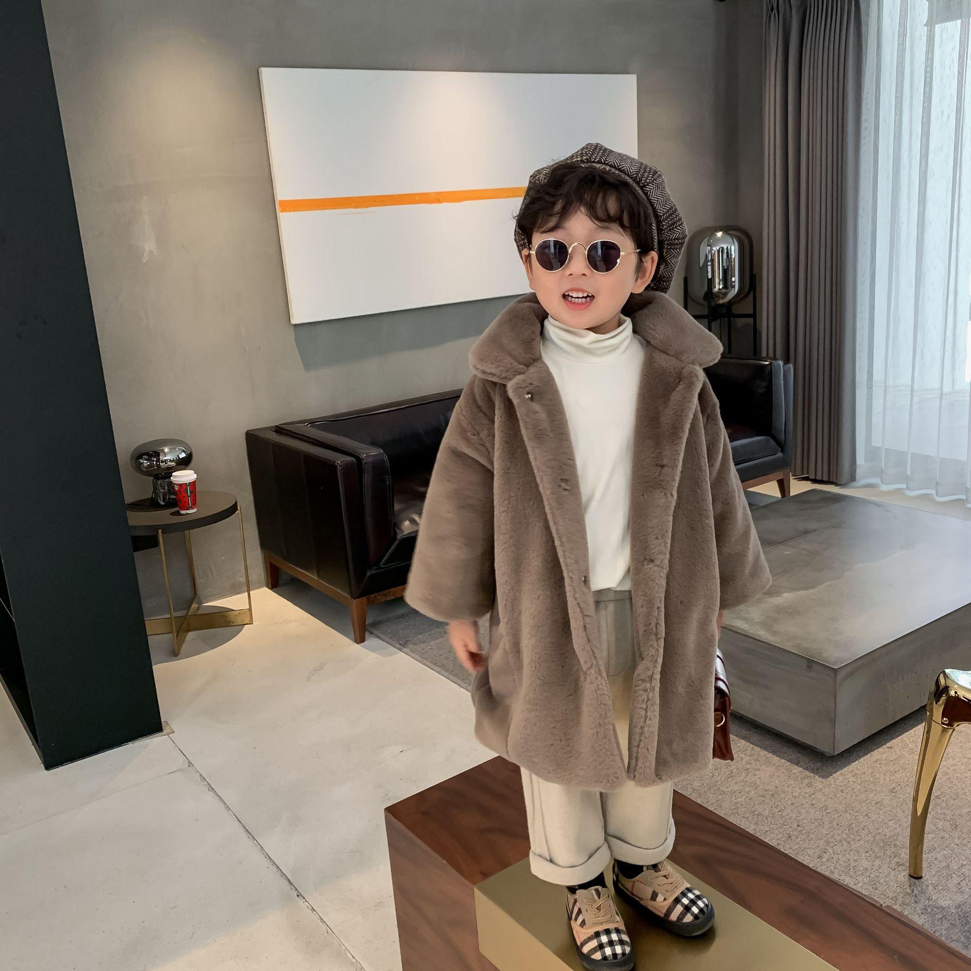 Детская куртка, новинка зимы 2020, меховое пальто средней длины для мальчиков и девочек, однобортное плотное Детское пальто-4