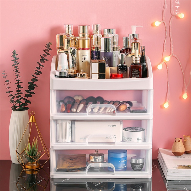 Jewelry Container Make Up Case Makeup Brush Holder Organizers Box Makeup Organizer Drawers Plastic Cosmetic Storage Box Rack