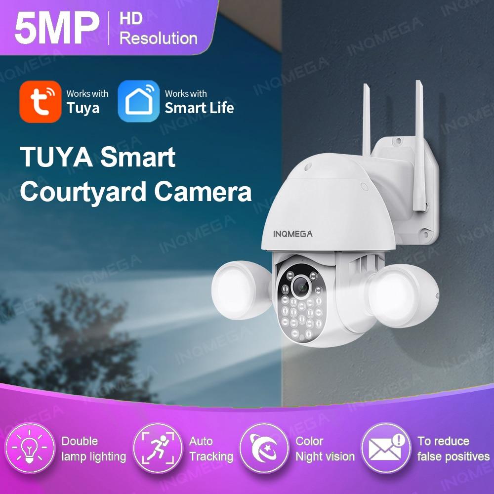 INQMEGA واي فاي 5MP / 3MP تويا الكاشف فناء الإضاءة كاميرا AI المحمول كشف الأمن في الهواء الطلق حماية كاميرا تلفزيونات الدوائر المغلقة