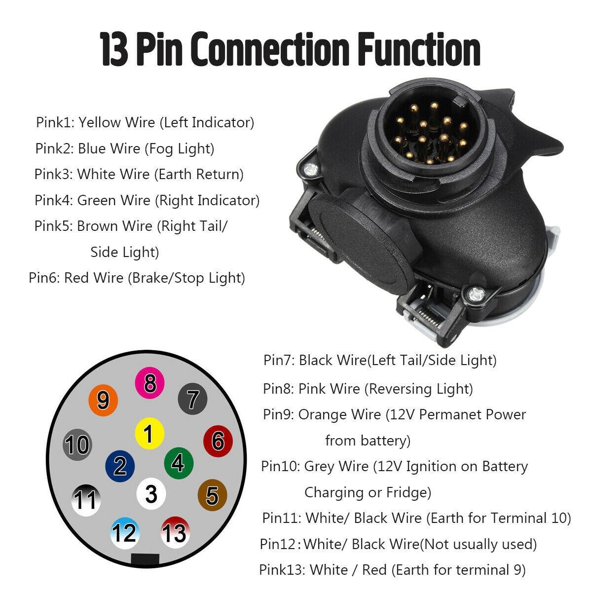 12V Plug Socket Conversion Adapter 13 Pin To 7 Pin Adjustable Black Caravan Towing Bar Plastic + Copper