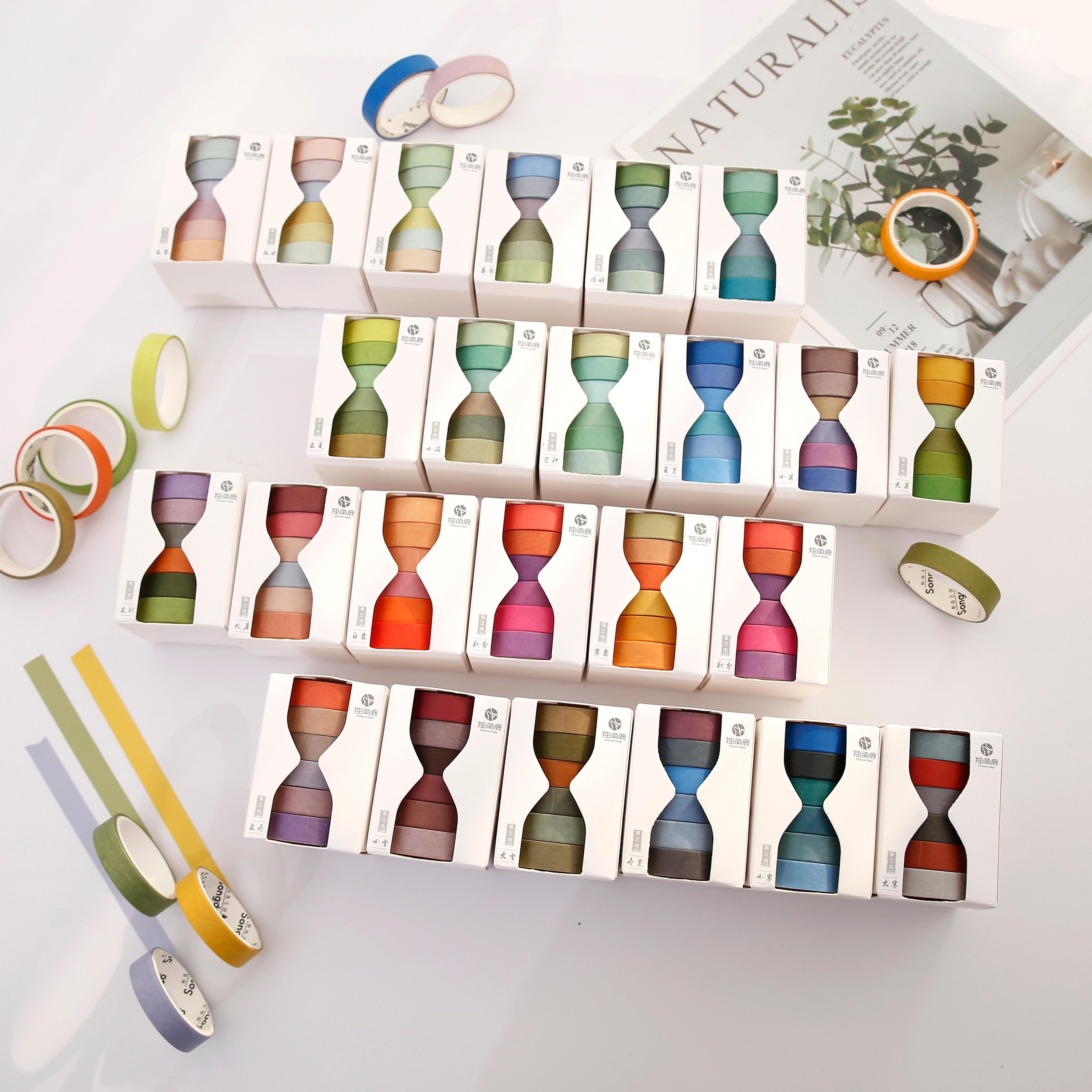24 termos solares papel washi fita conjunto primavera inverno temporada cor 9mm adesivo fitas de mascaramento diário álbum adesivos decoração a6407