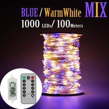 50M 1000 LED fil dargent fée chaîne lumières bleu chaud blanc étanche adaptateur pour arbre en plein air noël vacances décoration