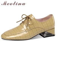 meotina mid heel shoes women cow leather thick heels pumps fashion square toe dress footwear cross tied female shoes spring 41