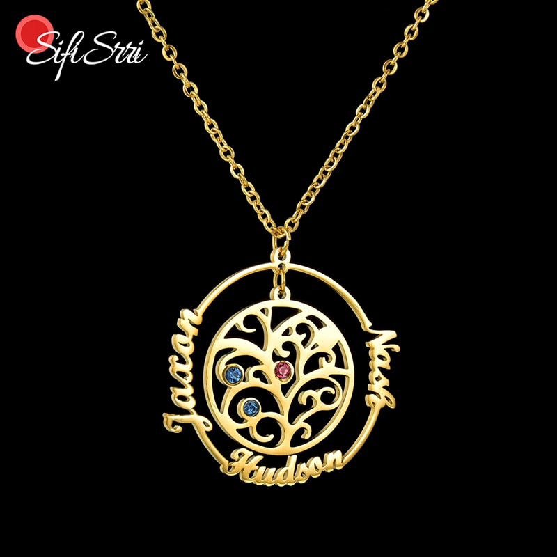 Sifisrri Custom Name Family Tree Necklace Stainless Steel Tree Of Life Personalized Letter Necklaces Women Kids Christmas Gift недорого