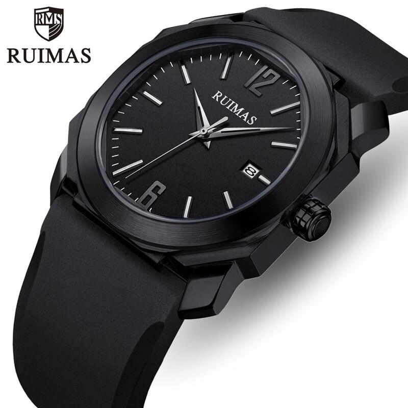 RUIMAS, reloj de marca de lujo para hombre, correa de silicona a la moda, relojes de cuarzo para hombre, resistente al agua, reloj de pulsera Masculino