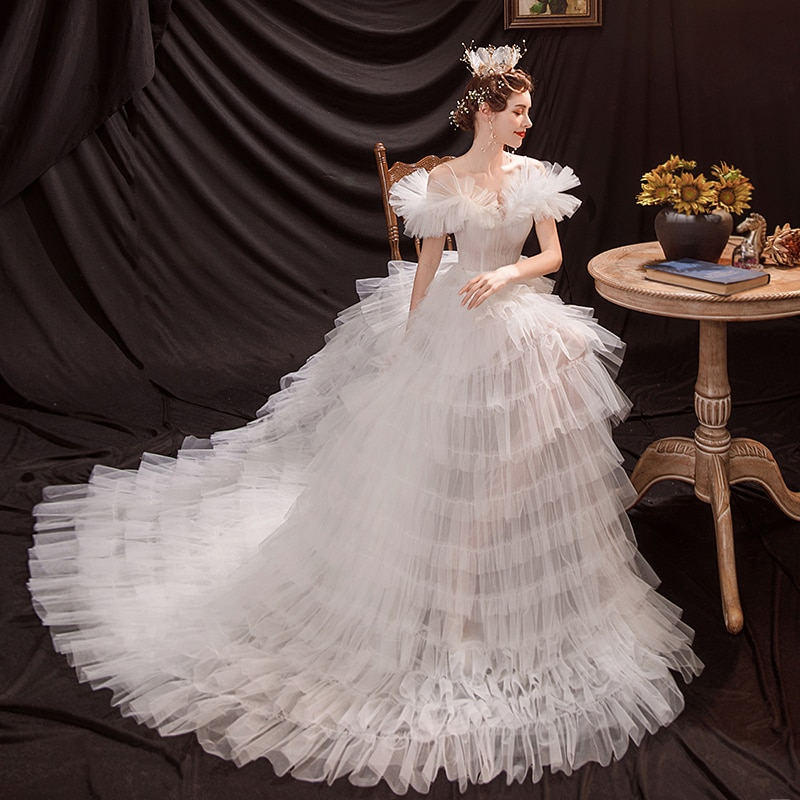 Get French Romantic Princess Ball Gown Fashion Spaghetti Strap Little Trailing Bridal Gown Classic Back Lace-Up Wedding Dress