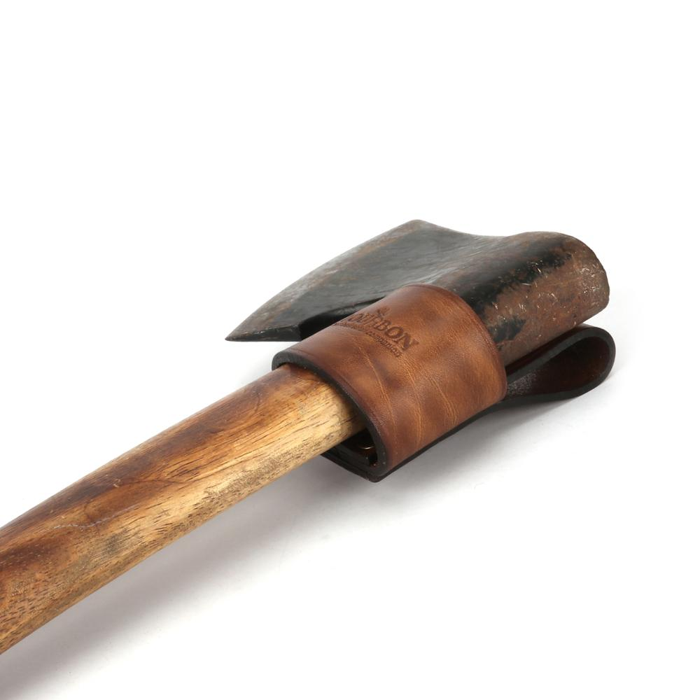 hunting axe hatchet head cover ax blade sheath belt loop holster thick genuine leather coffee color Tourbon Hunting Genuine Leather Ax Holder Blade Sheath Hatchet Hammer Wrench Carrier Axe Head Cover for Belt Loop Holster