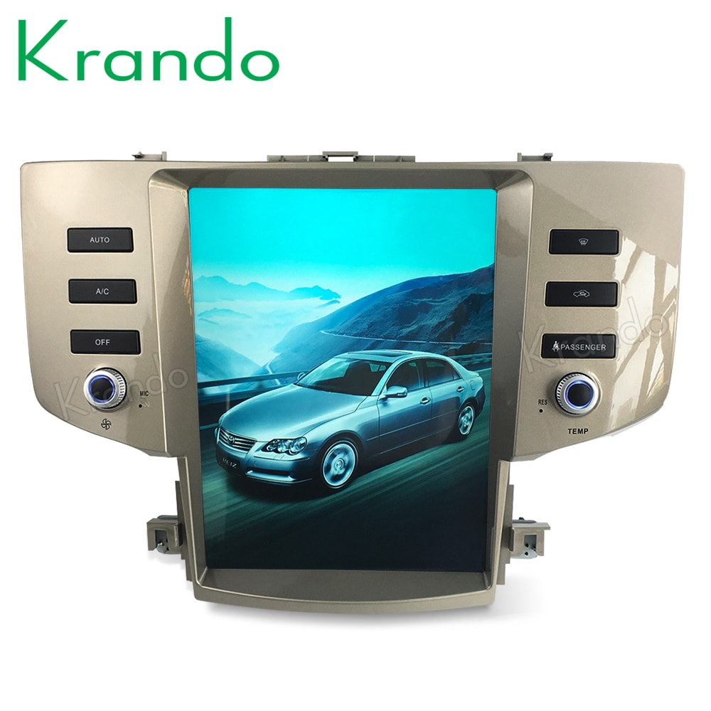 "Krando android 9.0 12.1 ""jogador vertical dos multimédios do carro da tela de tesla para o sistema do entretenimento de toyota mark x reiz 2005-2009 gps"