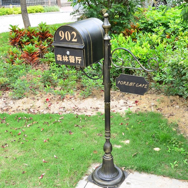 حامل معدني صندوق بريد لفيلا حديقة حديقة في الهواء الطلق صحيفة صندوق البريد مجموعات كاملة ريترو كلاسيكي صندوق البريد F6017
