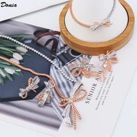 donia jewelry european and american fashion bow gold jewelry set womens luxury two color plating jewelry set combination