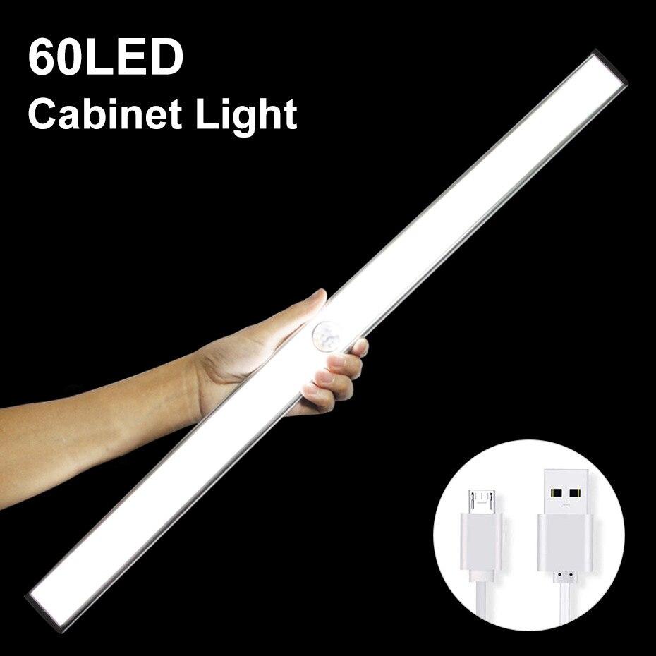 USB Rechargeable 24 40 60 LED Night Light Under Cabinet Light PIR Motion Sensor for Wardrobe Home Wardrobe Bedroom Kitchen lamp