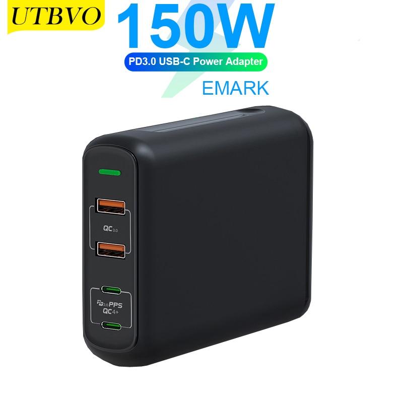 UTBVO 150 واط 4-Port غان الجدار محول 2 x USB-A تهمة سريعة 3.0 ، 2 x USB-C شاحن سريع ل ماك بوك برو الهواء ، باد برو ، آيفون 12