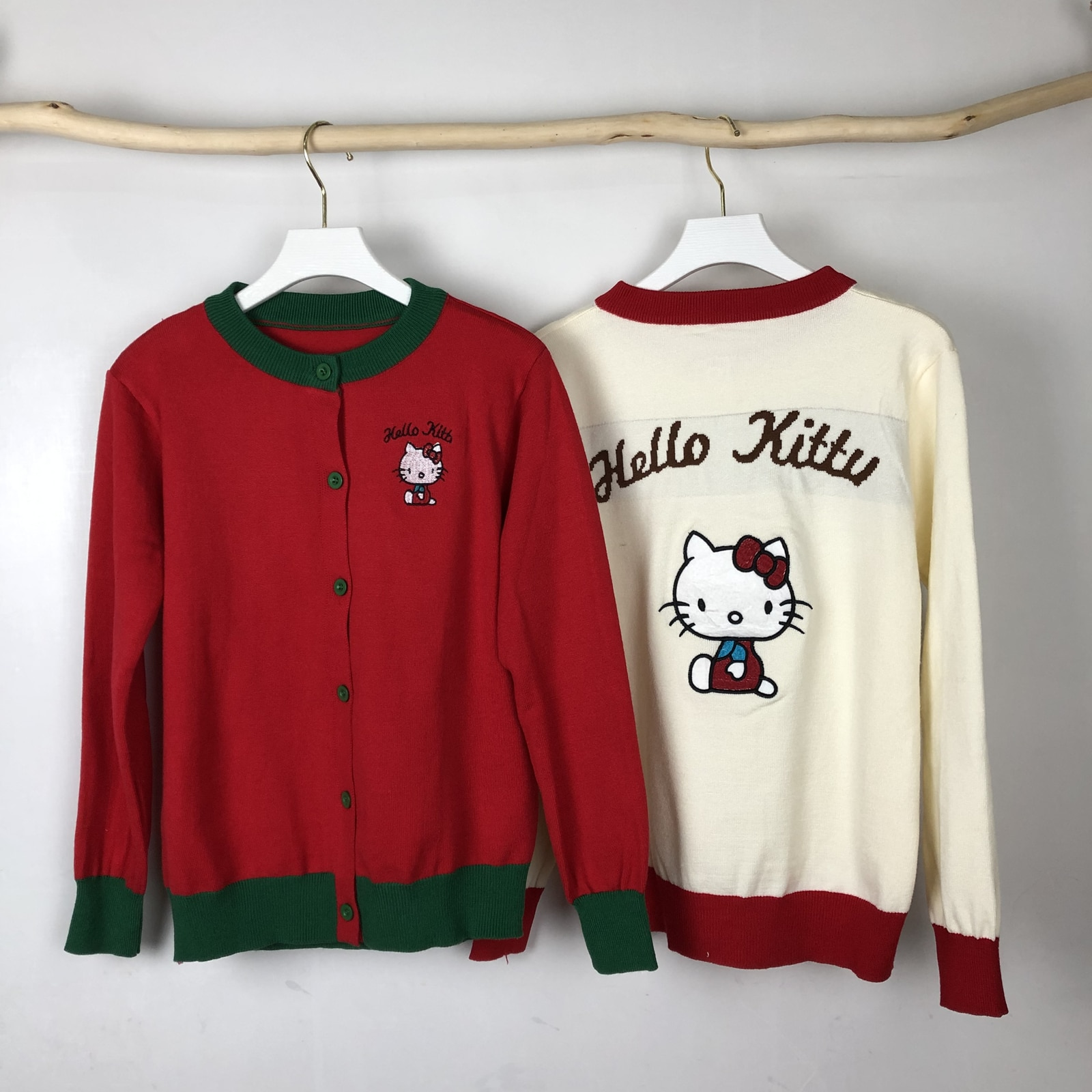 Kitty Cat Sweater Women Cardigan Cartoon Cute Tops Autumn Winter Embroidery Knit Long Sleeve Contrast Retro Vintage Clothes