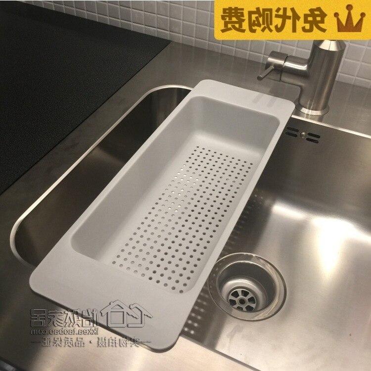 Recipiente de filtro Lun W con orificio de plástico, agente de compras Caikuang, escurridor de cocina de lavado, 46x16x9cm, gris doméstico