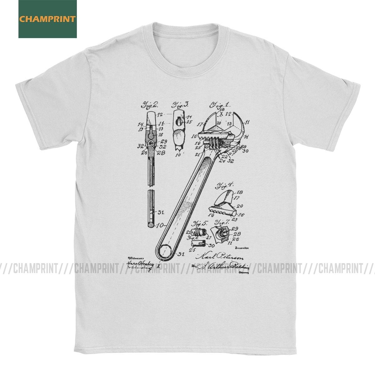 Llave Vintage patente Vintage playera con dibujo hombres cuello redondo algodón camisetas abridor mecánico arreglo herramienta de ingeniero Camiseta de manga corta