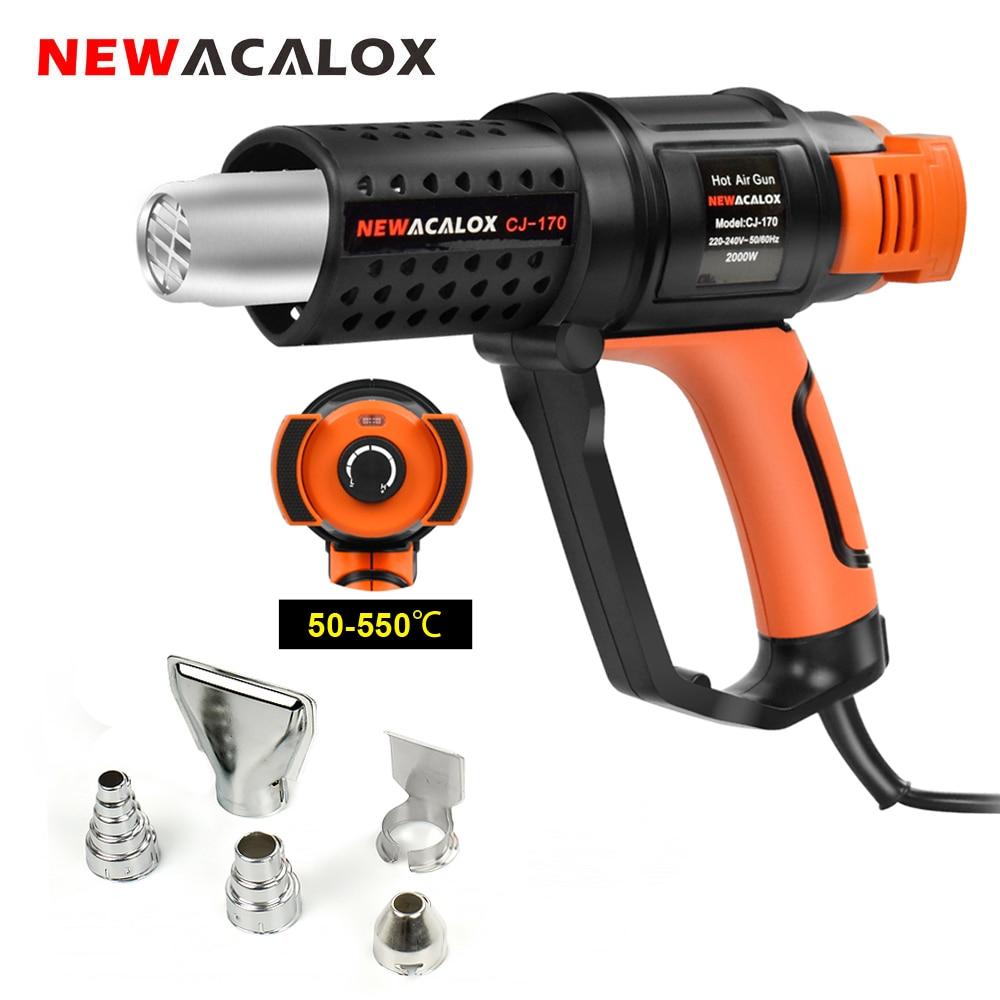 NEWACALOX Household Hot Air Gun Hair Dryer 2000W EU 220V Thermostat Heat Gun with 5pc Nozzles for Soldering/ Car Foil Heat Tool