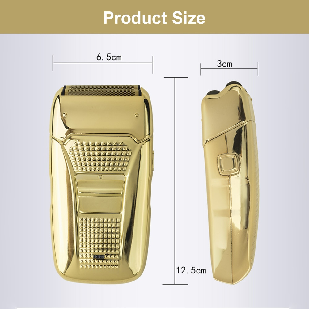 Electric Shaver for Men Razor Hair Removal Beard Trimmer USB Charge Retro Reciprocating Double Cutter Head Electroplating Body enlarge