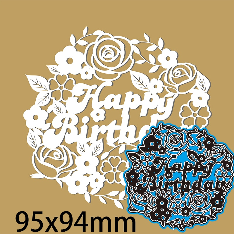 Cutting Dies Letter Happy Birthday and Flower DIY Scrap Booking Photo Album Embossing Paper Cards  95*94mm