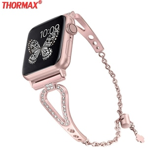 Diamond strap For Apple Watch Band 38mm 42mm 40mm 44mm iwatch 5 Women band Series 4/3/2/1 Stainless Steel strap Metal Bracelet