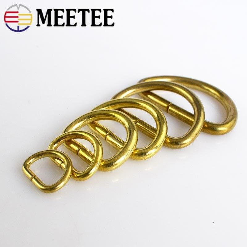 4/10 Uds bolso de anillo de latón macizo D hebilla de Metal Collar de perro cadena llavero Arnés con montura ganchos de presión DIY artesanía de cuero