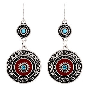 1Pair Silver Plated Vintage Ethnic Style Brincos Bohemian Antique Red Enamel Rhinestone Alloy Flower Drop Earrings For Women