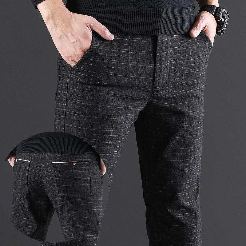 2020 Модные мужские повседневные брюки облегающие прямые брюки мужские клетчатые брюки молодежное платье брюки формальные брюки черный серы...