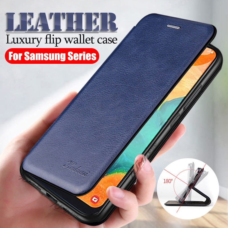 Leather Flip Case for Samsung Galaxy A51 A71 S20 Ultra S10 S9 S8 Plus S7 Edge Note 10 Pro 9 A10 A30