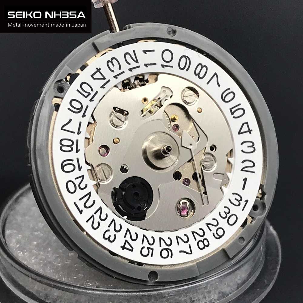 Original Japan SEIKO NH35 NH35A Automatic Watch Movement 24 Jewels With White Date Mens Parts For Wrist Watch Replace Accessorie enlarge