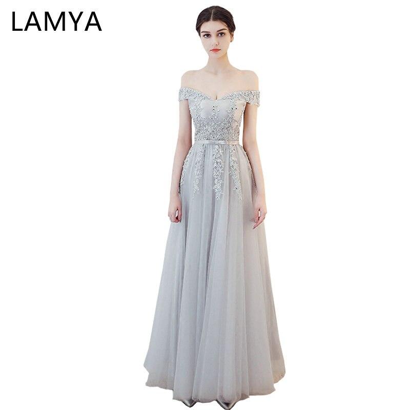 فستان LAMYA Princess للحفلات الراقصة, فستان سهرة طويل أنيق من الدانتيل مطرز بالخرز مع رقبة على شكل قارب ، مناسب للحفلات المسائية