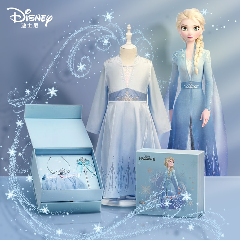 2021 new Disney Princess Dress snow and ice fate Aisha children's skirt summer birthday party girl dress birthday surprise