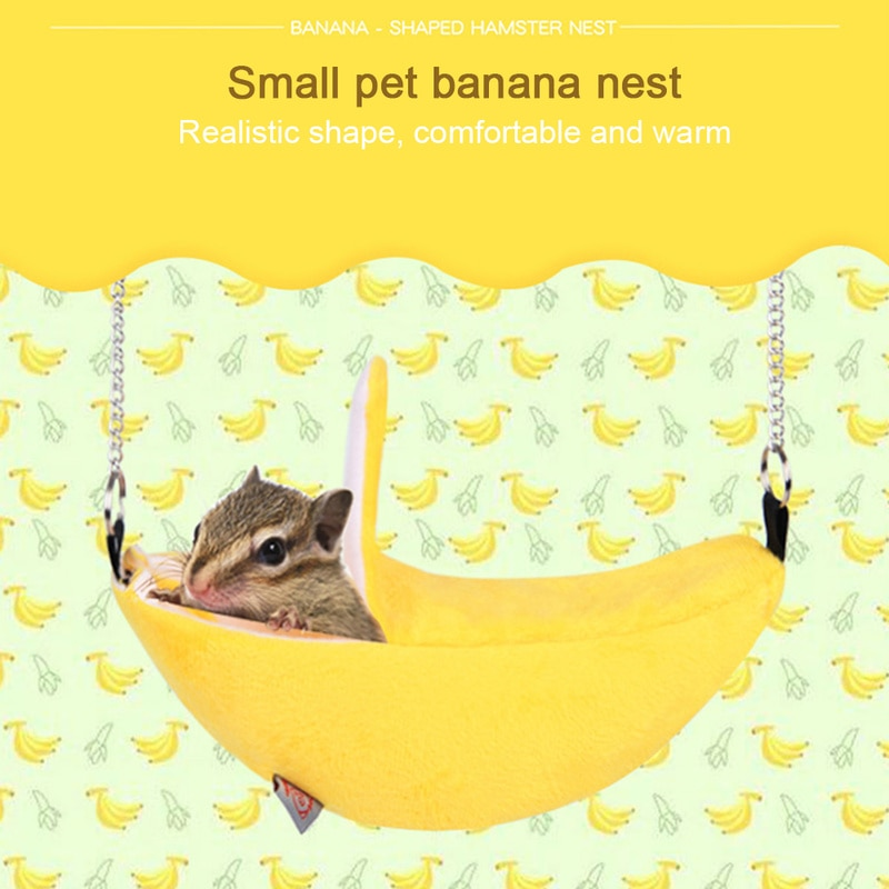 Hamster casa hamster hamster hamster de pelúcia bonito casa quente pendurado camas de árvore forma de banana rato vivendo ninho casa acessórios de hamster