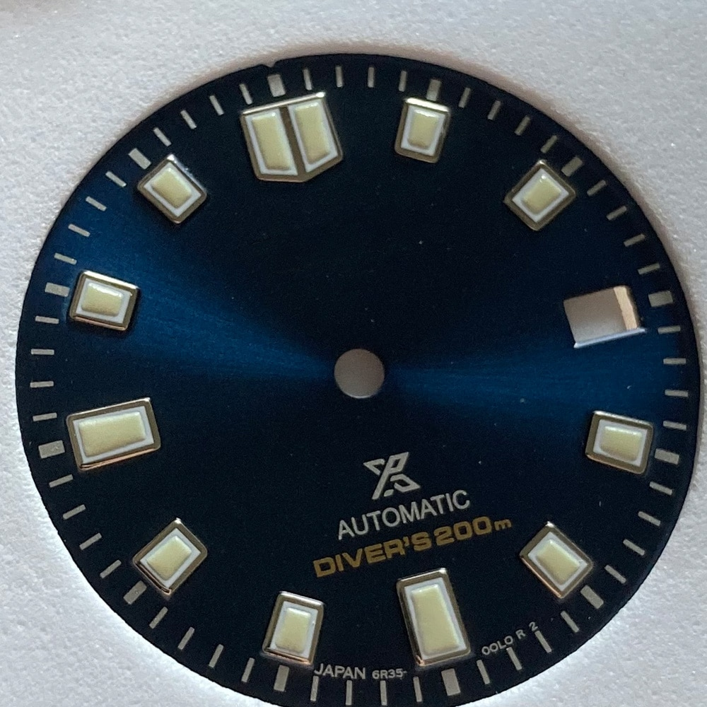 Watch Parts High Quality 28.5mm Blue Dial Luminous Marks Date Window Fit Japan NH35 Automatic Movement enlarge