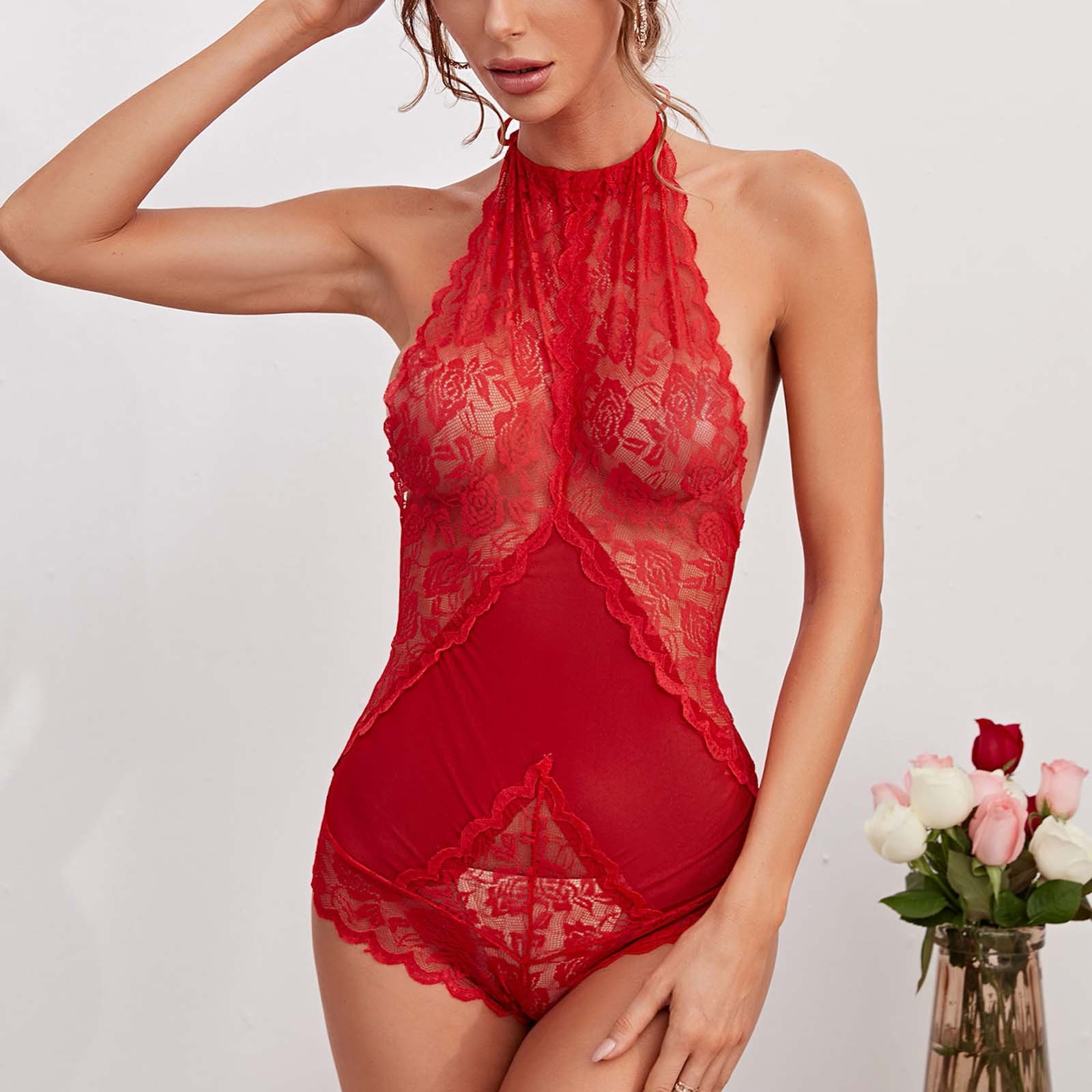 Sexy Lace Perspective Bodysuit Women Halter Backless Body Suit Mujer Jumpsuit Sleeveless Skinny Bodysuits Sexy Lingerie Bodys