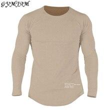 2019 fitness men's long-sleeved cotton t-shirt autumn fashion raglan sleeves casual fashion clothing Slim elastic fitness T-shir