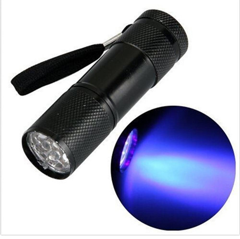 Mini aluminio ULTRA violeta UV 9 LED linterna retroiluminación lámpara de luz de la antorcha luz de la bicicleta luces bicicleta lubicы ы