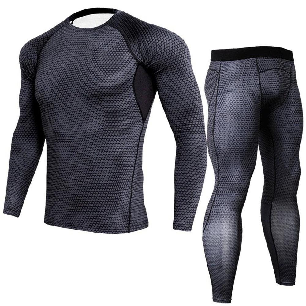 Allthem Men's printed  Sportswear Pant quick-drying Tight-fitting  Two-pieces  (Top+Pant) Stretch-leg Jogging Gym Sport Pant Top